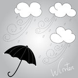 Winter weather. And umbrella hand drawing illustration vector illustration
