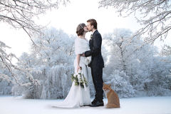 Winter wedding. Beautiful wedding couple on their winter wedding