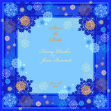 Winter wedding frame with cyan and blue snowflakes. Stock Photos