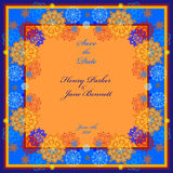 Winter wedding frame with orange and blue snowflakes. Royalty Free Stock Photos