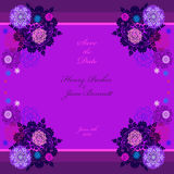 Winter wedding frame with violet and blue snowflakes. Royalty Free Stock Image