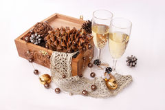 Winter wedding glasses with champagne and pine cones. Winter wedding champagne glasses and pine cones on a white background Stock Photography