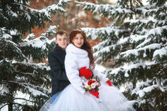 Winter wedding. Happy bride and groom together. Marriage concept. Winter wedding. Young happy bride and groom together. Marriage concept Royalty Free Stock Photos