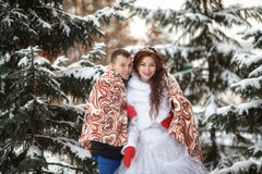 Winter wedding. Happy bride and groom together. Marriage concept. Winter wedding. Young happy bride and groom together. Marriage concept Royalty Free Stock Photography