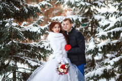 Winter wedding. Happy bride and groom together. Marriage concept. Winter wedding. Young happy bride and groom together. Marriage concept Royalty Free Stock Image