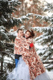 Winter wedding. Happy bride and groom together. Marriage concept. Winter wedding. Young happy bride and groom together. Marriage concept Royalty Free Stock Photo