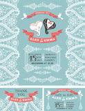 Winter wedding invitation.Cartoon hearts, Paisley Stock Images