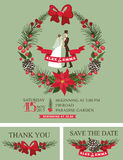 Winter wedding invitation.Retro Bride,groom,. Vintage winter wedding invitation with christmas wreath, border. Retro cartoon couple groom and bride in retro Royalty Free Stock Image
