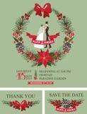 Winter wedding invitation.Retro Bride,groom, Royalty Free Stock Image