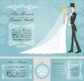 Winter wedding invitation set.Rero bride,groom, Royalty Free Stock Image
