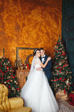 Winter Wedding .Lovers bride and groom in christmas decoration . HGroom and bride together. couple hugging. Wedding day. Stock Photo