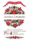 Winter wedding save date card. Circle composition Royalty Free Stock Image
