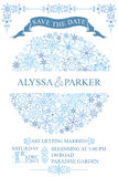 Winter wedding save date card.Snowflakes circle stock image