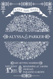 Winter wedding save date card.Snowflakes circle. Winter wedding invitation,save the date card with Snowflakes circle composition.openwork elements,text,numbers Stock Photo
