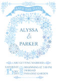 Winter wedding save date card. Snowflakes wreath Stock Photo
