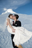 Winter wedding in the snow Stock Photos
