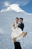 Winter wedding in the snow royalty free stock images