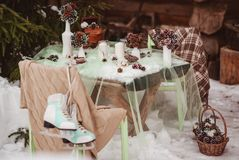 Winter wedding table stock photos