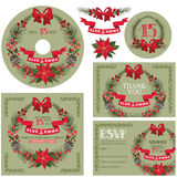 Winter wedding template set with christmas wreath Stock Images