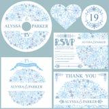 Winter wedding template set.Snowflakes circle Stock Photos