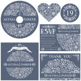 Winter wedding template set.Snowflakes circle Royalty Free Stock Images