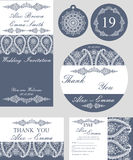 Winter wedding template set.Snowflakes paisley Stock Photography