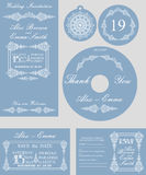Winter wedding template set.Snowflakes swirling Stock Images