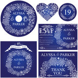 Winter wedding template set.Snowflakes wreath Royalty Free Stock Photography