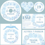 Winter wedding template set.Snowflakes wreath Royalty Free Stock Photos