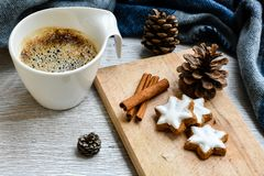 Winter weekend. Delicious home made  cinnamon  cookies ,cup of coffee  sarf  in a  balcony in snowy day. Lazy winter weekend with a book on the sofa Royalty Free Stock Image