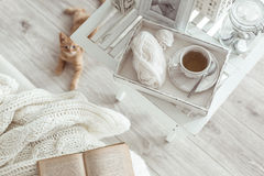 Winter weekend. Still life details, cup of tea on retro vintage wooden tray on a coffee table in living room, top view point. Lazy winter weekend with a book on Stock Photo