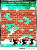 Winter-, Weihnachts- oder neues Jahrthemenorientiertes Sichtmathepuzzlespiel mit abwesenden Ziegelsteinen Lizenzfreie Stockfotografie