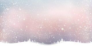 Winter-Weihnachtshintergrund mit Landschaft, Schneeflocken, Licht, Sterne lizenzfreie abbildung