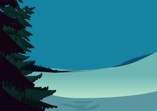 Winter-Weihnachtslandschaftsszene, schneebedeckte Tageswiese mit geziertem Baum und blauer Himmel Feiertagsdesign-Kartenhintergru Lizenzfreies Stockfoto