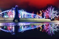 Winter-Weihnachtslicht-Reflexion in Ukraine Lizenzfreies Stockbild