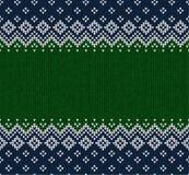 Winter-Weihnachtsskandinavier strickte nahtlosen abstrakten Hintergrundrahmen und -grenze Lizenzfreie Stockfotografie