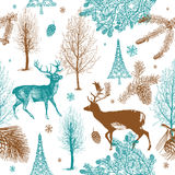 Winter-Weihnachtswald mit deers. nahtloses patt Stockbilder