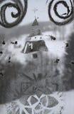 Winter-Weihnachtszeichnung auf transparentem Glas Lizenzfreie Stockbilder
