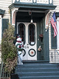 Winter Welcome. A snowman greets visitors to a home in the Stockade section of Schenectady, New York Stock Photography