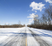 Winter in Western New York. Deserted snow-covered road outside Buffalo, New York Stock Photo