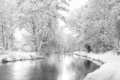 Winter Wey. River Wey in Guildford covered in snow Royalty Free Stock Photography