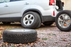 Winter wheels and tyres for suv car for changing Stock Image