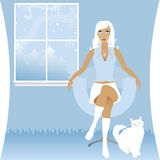 Winter White. Stylish woman sits and enjoys a cool winter evening with her white cat - a scene of snow falling outside the widow Royalty Free Illustration