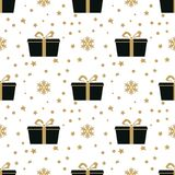 Winter white background with black and gold gift box. For textile, paper, scrapbooking, wrapping, web and print design. Seamless pattern. Vector illustration Royalty Free Stock Image