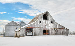 Winter White Barn Royalty Free Stock Photography