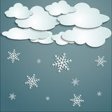 Winter with white clouds Royalty Free Stock Image