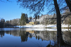 winter white forrest lake castle Royalty Free Stock Photos