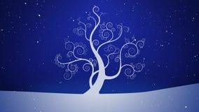 Winter White Growing Tree Sparkling Snowy Sky 4K