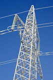 Winter white hoarfrost ice covered electricity tower royalty free stock images