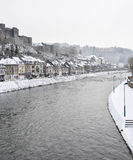 winter white large big castle on hill mountain river Royalty Free Stock Photos